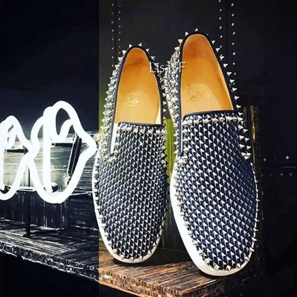 Christian Louboutin PIK BOAT Other Check Patterns Plain Toe Studded Loafers & Slip-ons