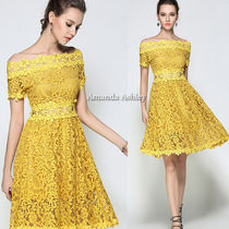 Flower Patterns Flared Plain Medium Lace Party Dresses