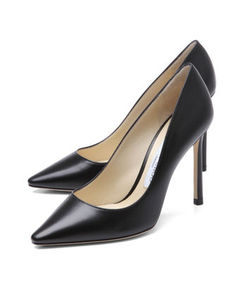 Jimmy Choo Plain Leather Pin Heels Pointed Toe Pumps & Mules