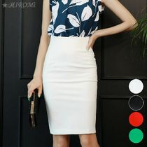 Pencil Skirts Plain Medium Midi Skirts