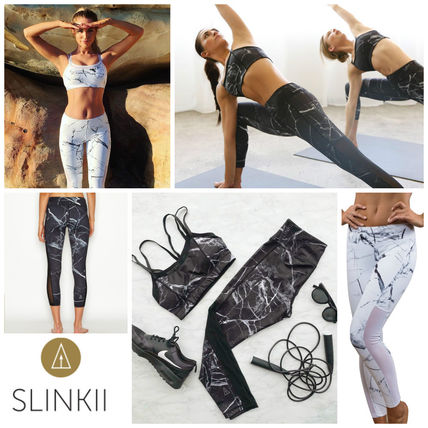 Queen BRAND SLINKII marble pattern leggings black and white