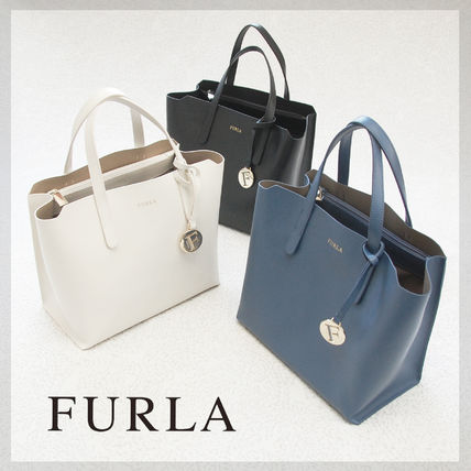 Casual Style Plain Leather Totes