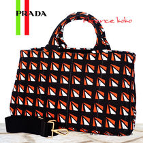 PRADA CANAPA Arancio Orange/Black/White Geometric Pattern Canapa Tote Bag
