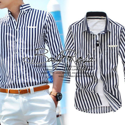Shirts Button-down Stripes Cropped Plain Shirts