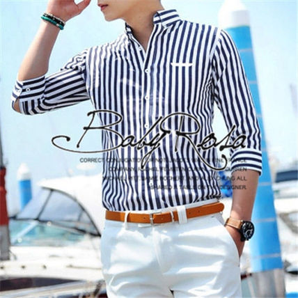 Shirts Button-down Stripes Cropped Plain Shirts 3
