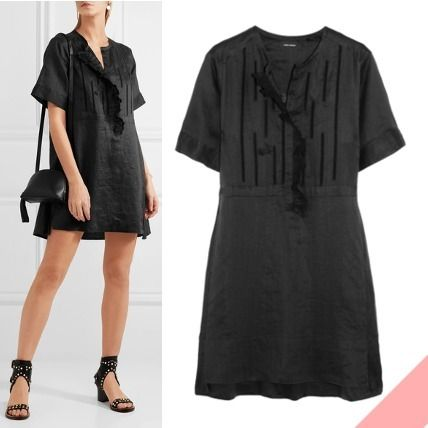 ISABEL MARANT elegant British embroidered mini dress black
