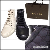 GUCCI Monogram Plain Toe Rubber Sole Casual Style Low-Top Sneakers