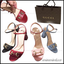 GUCCI Open Toe Plain Leather Block Heels Elegant Style Shoes