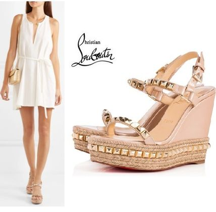 211e9c3d69a ... Christian Louboutin Platform   Wedge Open Toe Studded Plain Leather  Platform   Wedge ...