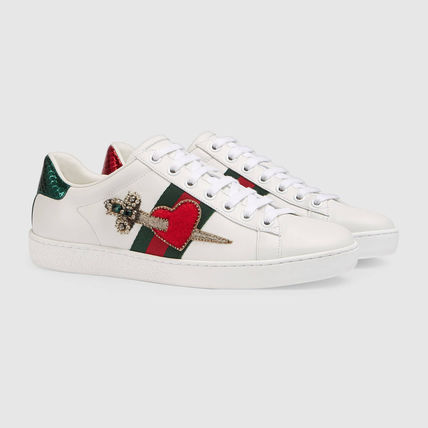 GUCCI [ACE] embroidery with leather sneakers