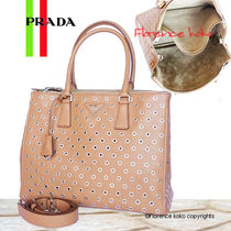 PRADA Caramel Tan Metal Ring CIty Calf Leather Tote Bag