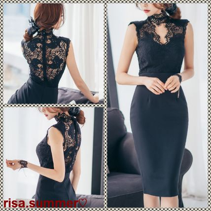 Adult cute pencil MIDI dress with floral lace embroidery
