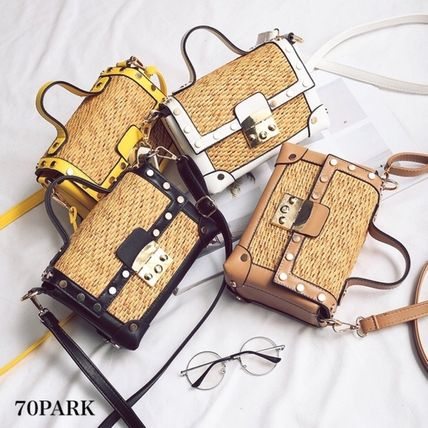2way box type basket shoulder bag basket bag