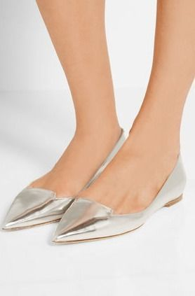 ATTILA Metallic Silver Flat pumps