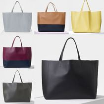 CELINE Horizontal Cabas A4 Plain Leather Office Style Totes