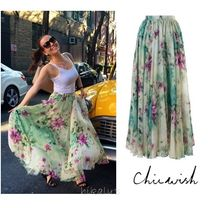 Chicwish Flared Skirts Flower Patterns Long Party Style Maxi Skirts