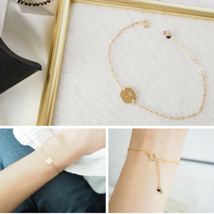 Casual Style Initial 14K Gold Bracelets