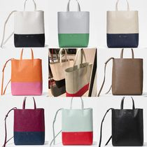 CELINE Cabas Casual Style A4 2WAY Plain Leather Totes