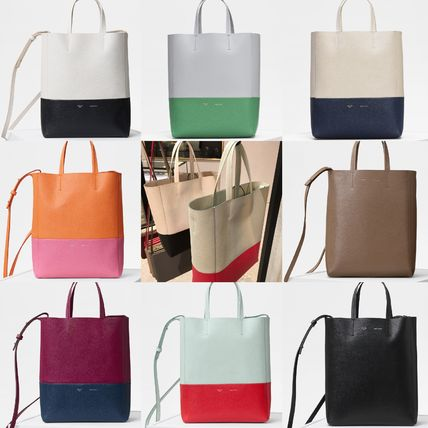 outstanding features store how to purchase CELINE Cabas 2018-19AW Casual Style A4 2WAY Plain Leather Totes
