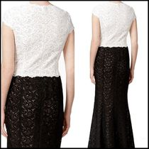 Calvin Klein Maxi V-Neck Plain Long Lace Puff Sleeves Party Dresses