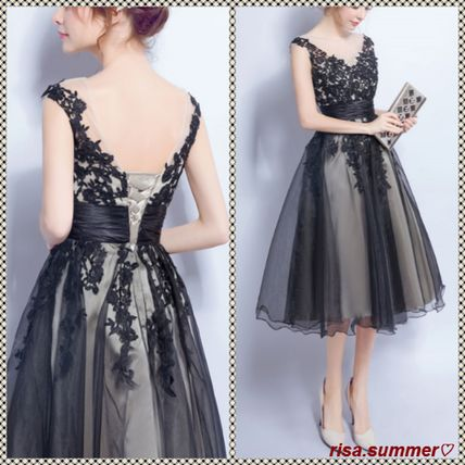 Flower embroidery Organza tulle midi flare dress