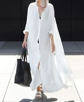 Casual Style Long Sleeves Plain Long Oversized