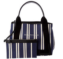 BALENCIAGA CABAS Stripes Casual Style Canvas 2WAY Totes