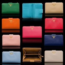 PRADA Plain Leather Folding Wallets
