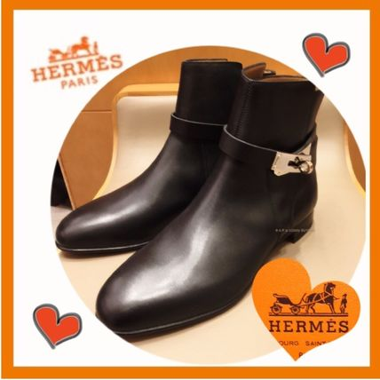 HERMES Kelly Casual Style Plain Leather Ankle & Booties Boots