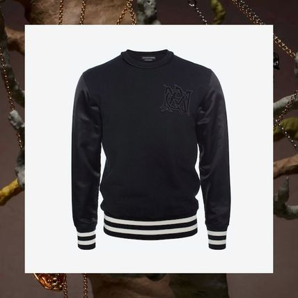alexander mcqueen Crew Neck Pullovers Stripes Street Style Long Sleeves Cotton