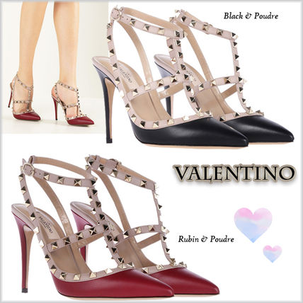 17FW rock studded calf leather sling pumps