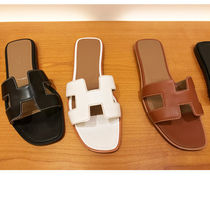 HERMES Oran Open Toe Leather Sandals