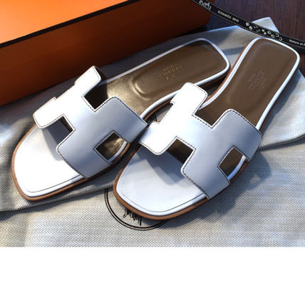 HERMES More Sandals Open Toe Leather Sandals 3