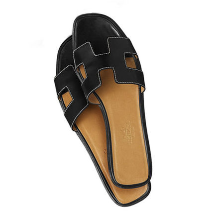 HERMES More Sandals Open Toe Leather Sandals 5