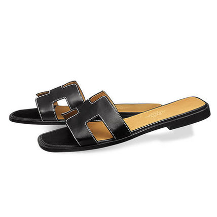 HERMES More Sandals Open Toe Leather Sandals 6