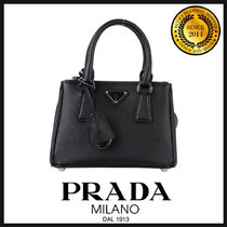 PRADA GALLERIA Saffiano 2WAY Plain Elegant Style Handbags