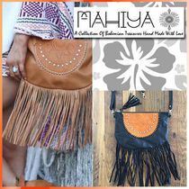 MAHIYA Casual Style Blended Fabrics 2WAY Leather Shoulder Bags