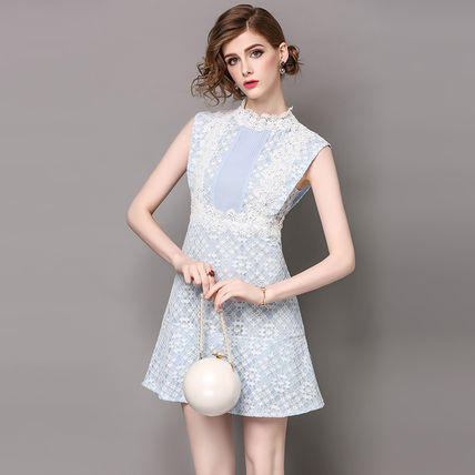 Short Flower Patterns A-line Sleeveless Lace Party Dresses