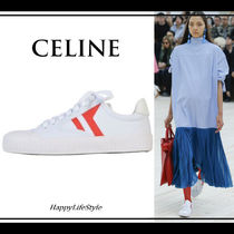 CELINE Rubber Sole Lace-up Casual Style Blended Fabrics Plain