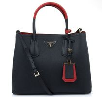 PRADA Black & Red Leather Double Handbag