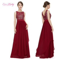 Ever-Pretty Sleeveless Flared Boat Neck Plain Long Lace Party Dresses