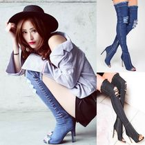 Open Toe Casual Style Pin Heels Over-the-Knee Boots