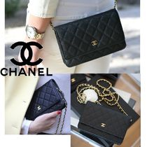 CHANEL CHAIN WALLET Calfskin Party Style Crossbody Party Bags