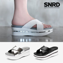 Open Toe Platform Casual Style Street Style Plain Slippers