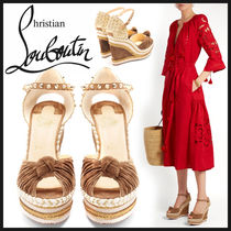 Christian Louboutin Open Toe Suede Studded Elegant Style