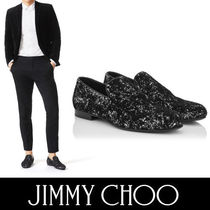 Jimmy Choo Plain Toe Velvet Plain Loafers & Slip-ons