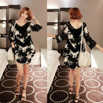 Flower Patterns Casual Style Cropped Long Shirts & Blouses