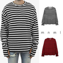 MNML Crew Neck Pullovers Stripes Street Style Long Sleeves Cotton
