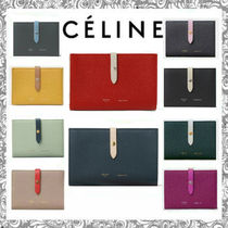 CELINE Strap Bi-color Plain Leather Long Wallets