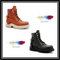 BUSCEMI Plain Toe Mountain Boots Rubber Sole Casual Style Plain